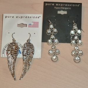 2 Pair Silvertone Earrings Angel Wings Rhinestones